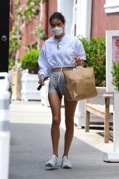 Alessandra Ambrosio Wears Tiny Grey Shorts - Brentwood 08/19/2021