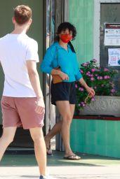 Alia Shawkat in a Pair of Black Shorts and a Blue Top - Los Feliz 08/30/2021