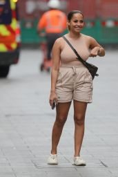 Amber Gill in a Nude Top and Beige Shorts - London 08/23/2021