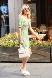 Ashley Roberts in a Floral Olive Dress in London 08/04/2021