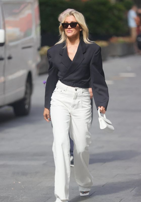 Ashley Roberts in White Denim Jeans and Black Top - London 08/02/2021