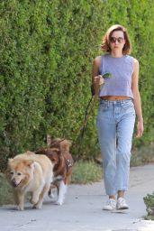 Aubrey Plaza in Jeans and a Grey Crop Top - Los Feliz 08/15/2021