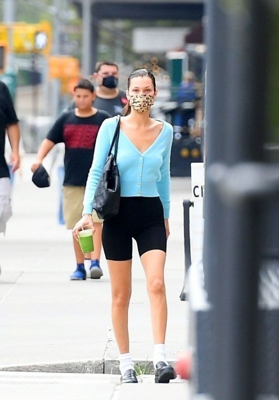 Bella Hadid in Leggings in New York 08/09/2021