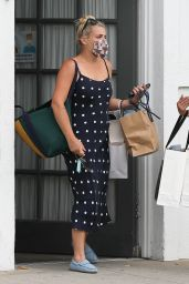Busy Philipps Wears a Blue Polka Dot Dress - Beverly Hills 08/11/2021