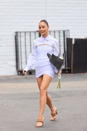Cara Santana in an All-white Outfit at Bristol Farms in Los Angeles 08/18/2021