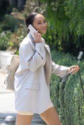 Cara Santana Wears Beige Blazer Over her Athleisure Ensemble - West Hollywood 08/24/2021