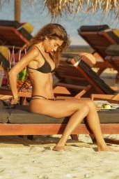 Chantel Jeffries in a Black Bikini on a Beach in Mykonos 08/03/2021