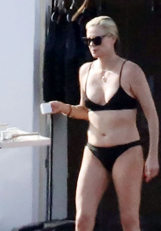 Charlize Theron in a Black Bikini on a Yacht - Aegean Sea 08/03/2021
