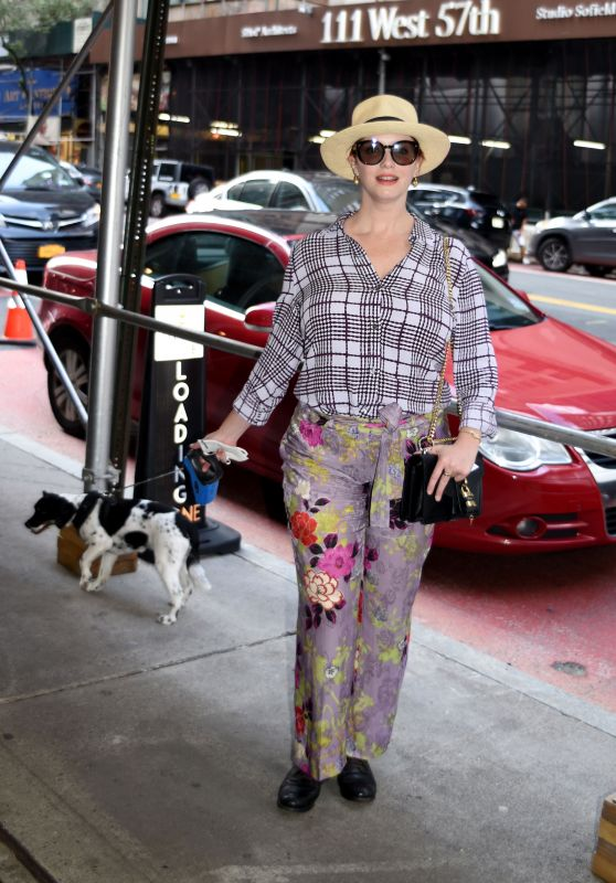 Christina Hendricks in a Checked Shirt and Floral Pants - Manhattan 08/01/2021