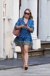 Christine Taylor - Wearing a Blue Summer Dress in New York 08/25/2021