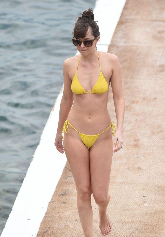 """Dakota Johnson in a Yellow Bikini - """"Fifty Shades Darker"""" Set in France (2016)"""