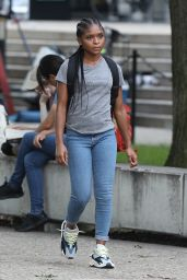 """Dominique Thorne - """"Black Panther: Wakanda Forever"""" Filming Set in Cambridge 08/25/2021"""