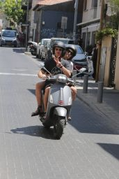 Gal Gadot - Riding on the Back of a Motor Scooter With Husband Yaron Varsano in Tel Aviv 08/26/2021