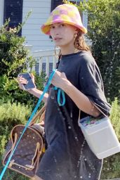Hailey Rhode Bieber in a Tiny Shirt Dress, Sandals and a Funky Hat - Santa Barbara 08/06/2021