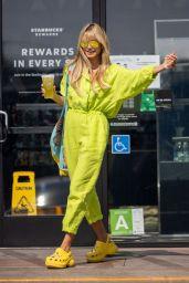 Heidi Klum in a Green Jumpsuit - Los Angeles 08/10/2021