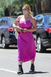 Hilary Duff in a Pink Dress - Running Errands in Beverly Hills 08/02/2021
