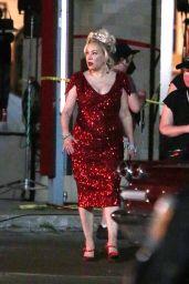 """Jennifer Tilly Holding Up the Chucky Doll - """"Chucky"""" TV Series Set in Toronto 08/09/2021"""