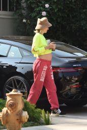 Jessica Hart Wears a Neon Yellow Shirt - Los Angeles 08/25/2021