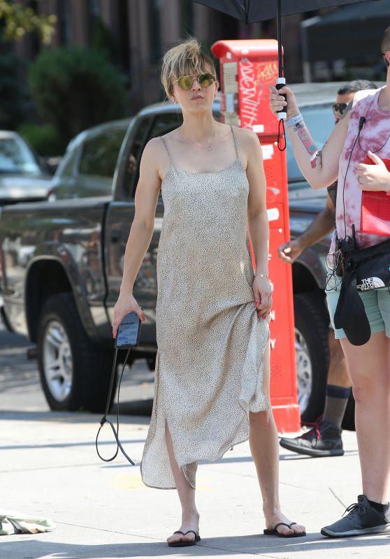 """Kaley Cuoco Wears a Silver Slip Dress - """"Meet Cute"""" Set in Brooklyn 08/12/2021"""