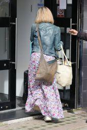 Kate Garraway Wearing a Floral Print Dress in London 08/04/2021