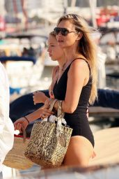 Kate Moss in a Black Swimsuit - Ibiza 08/13/2021