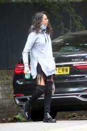 Katya Jones Wears Leg Warmers, a Grey Hoodie and a Tassel Skirt - London 08/03/2021