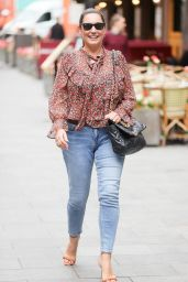Kelly Brook in Tight Denim and Floral Blouse - London 08/20/2021