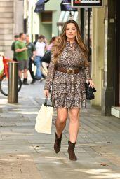 Kelly Brook Wears Sparkling Metallic Short Dress - London 08/18/2021