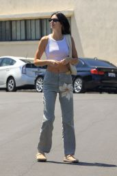 Kendall Jenner in a White Crop Top - West Hollywood 08/07/2021
