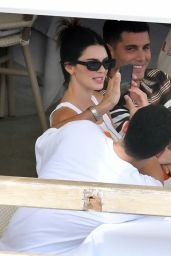Kendall Jenner Wearing Floral-patterned Vest Top and a Green Mini Skirt - Salerno 08/25/2021