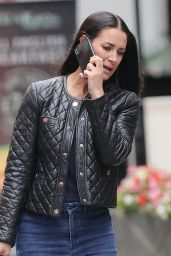 Kirsty Gallacher in Tight Denim Bell Bottomed Trousers and Leather Jacket - London 08/26/2021
