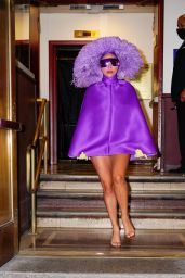 Lady Gaga Wearing All Purple With Marc Jacobs Sunlasses - Radio City Music Hall 08/01/2021