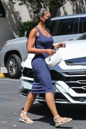 Lori Harvey in a Sleeveless Fitted Maxi Dress - Shopping at Saks Fifth Avenue in Beverly Hills 08/05/2021