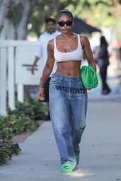 Lori Harvey Wearing Jeans and Sports Bra - Shopping on Melrose Place in West Hollywood 08/25/2021