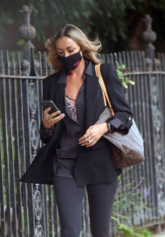 Luba Mushtuk in Leggings, Heels, a Camisole Top and a Black Jacket - London 08/03/2021