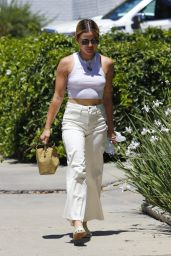 Lucy Hale Wears a White Ensemble With a Crop Top - West Hollywood 08/03/2021