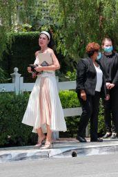 Mariana Klaveno Wearing Pleated Dress - West Hollywood 08/12/2021