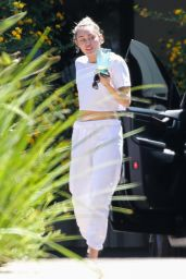 Miley Cyrus Wearing Sweat Pants and a White Crop Top - Malibu 08/05/2021