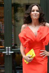 Minnie Driver in a Red Carolina Herrera Dress With Yellow Bag - New York 08/02/2021