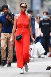 Minnie Driver in a Red Maxi Dress - New York 08/01/2021