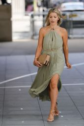 Mollie King in a Thigh Skimming Green Halter Neck Dress - London 08/15/2021