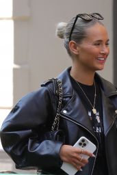 Molly Mae Hague in a Black Leather Jacket and Ripped Shorts - Manchester 08/03/2021