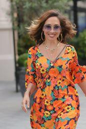 Myleene Klass in a Chic Floral Orange Dress and Heels 08/06/2021