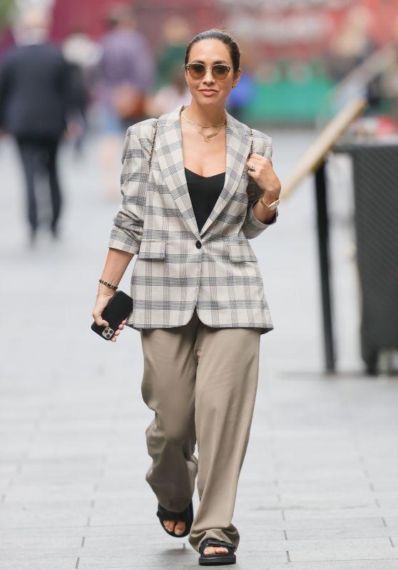 Myleene Klass in Checkered Blazer and Sandals 08/24/2021