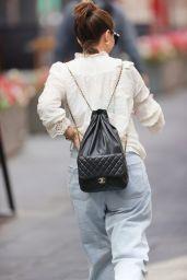 Myleene Klass in White Blouse and Flared Denim - London 08/27/2021