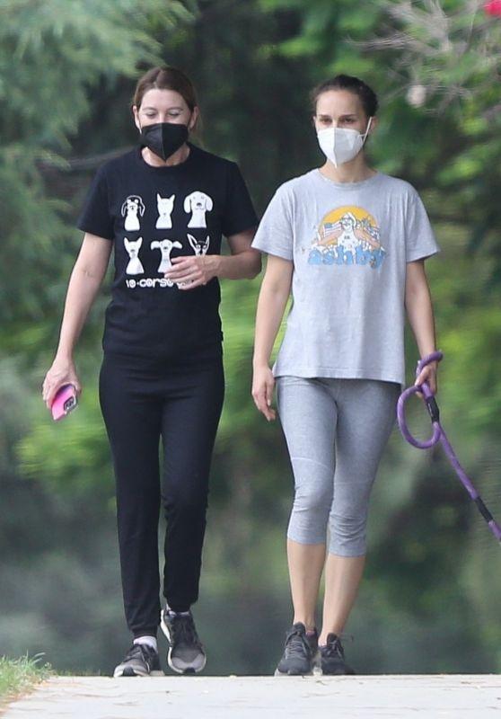 Natalie Portman and Ellen Pompeo - Hike Together in Los Feliz 08/22/2021