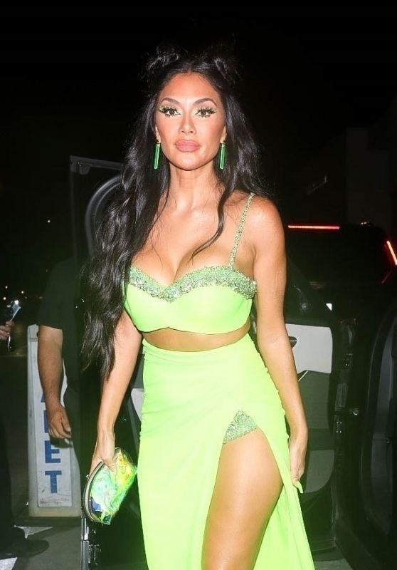 Nicole Scherzinger in a Glowing Neon Green Dress at Catch LA in West Hollywood 07/31/2021