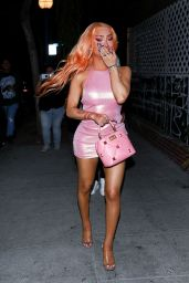 Nikita Dragun in Pink Mini Dress - Bryce Hall