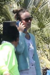 Olivia Wilde in a Knitted Mint-Colored Cardigan - Los Angeles 08/06/2021