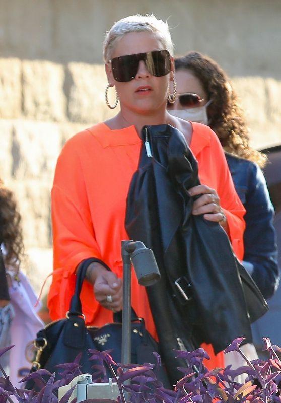 Pink in a Bright Orange Dress and Gold Platform Heels - Malibu 08/05/2021